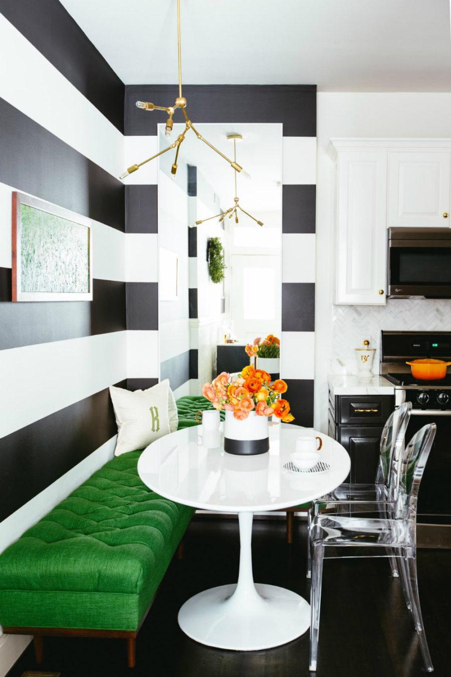 Fashionably bold breakfast area