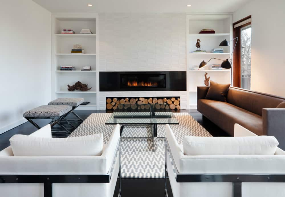 Fireplace wall built-ins