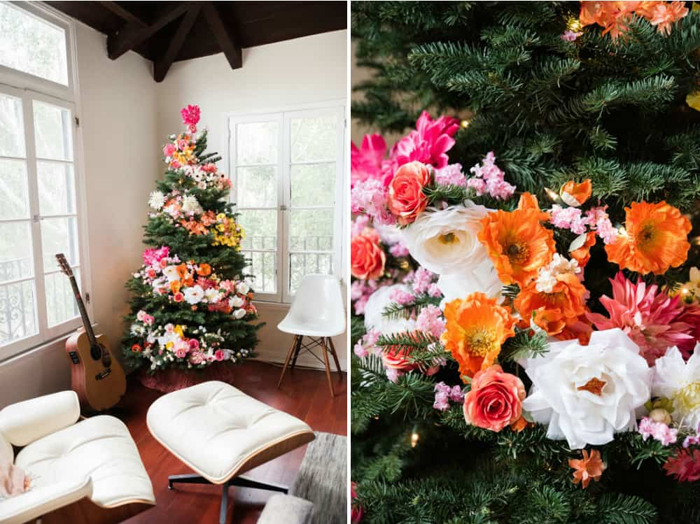 Flower-decorated Christmas tree