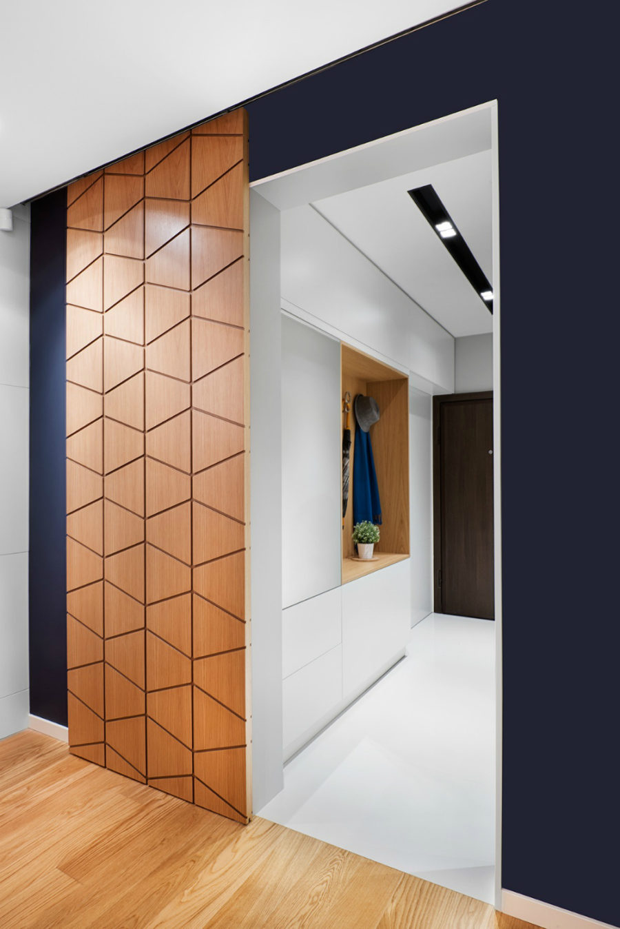 Geometric sliding door