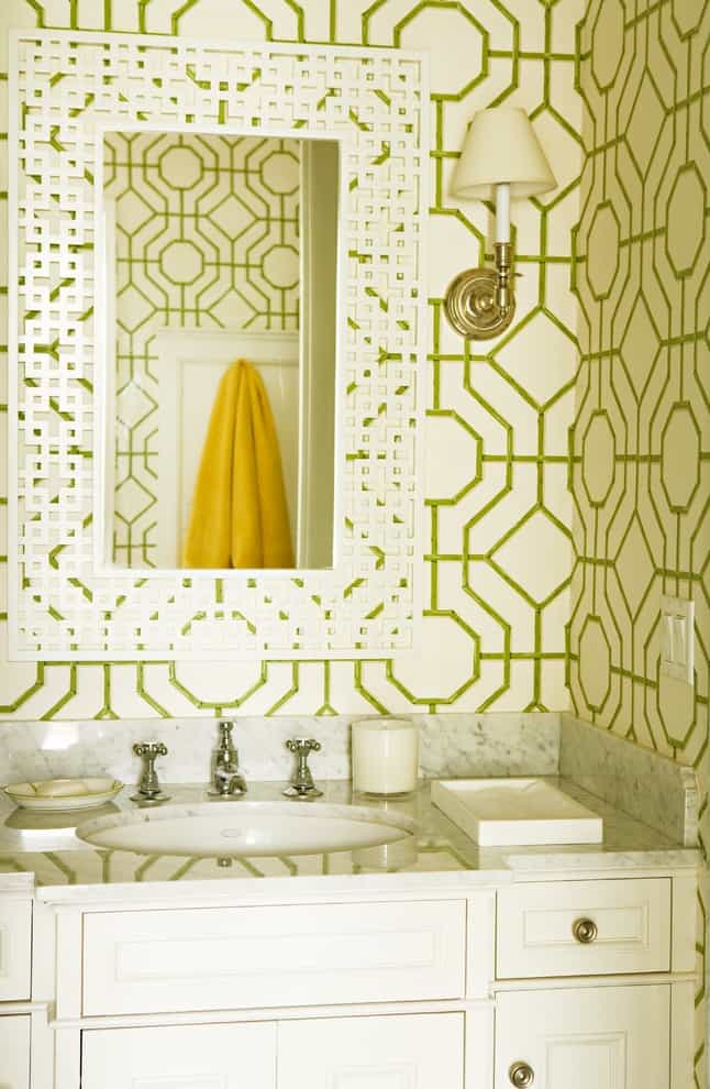 View In Gallery Green Diamonds Statement Bathroom Wallpapers