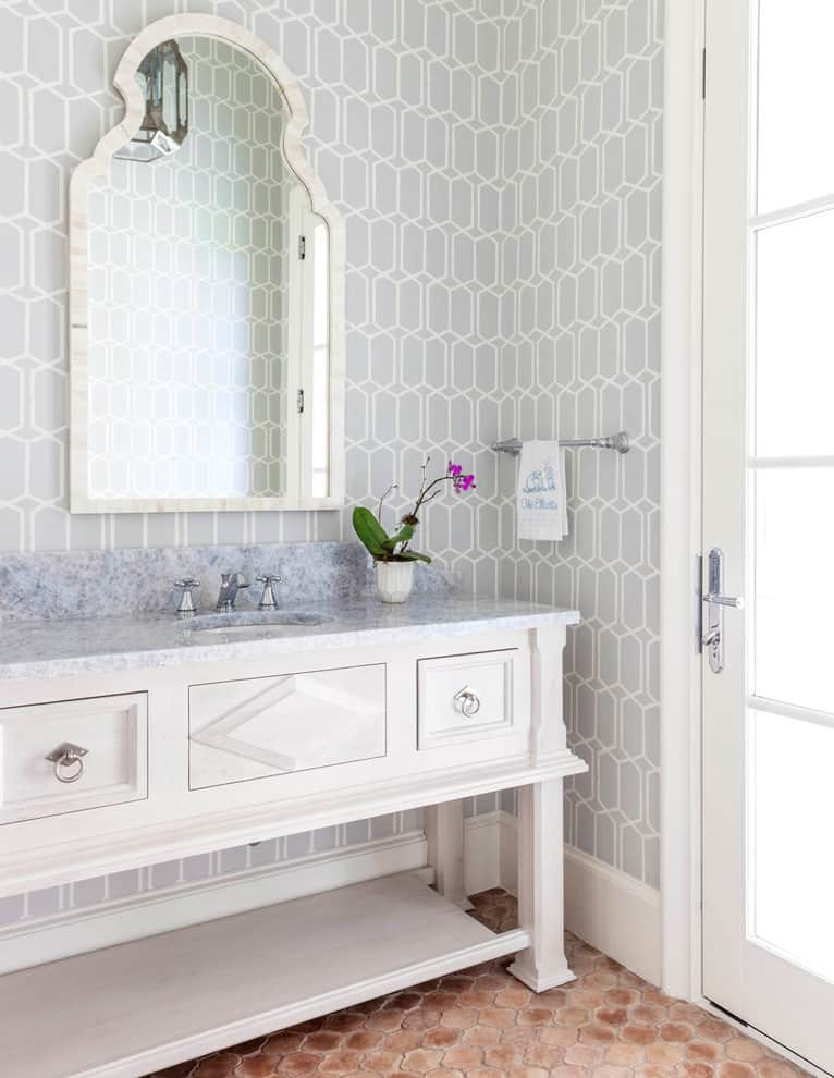 Grey Statement Bathroom Wallpapers