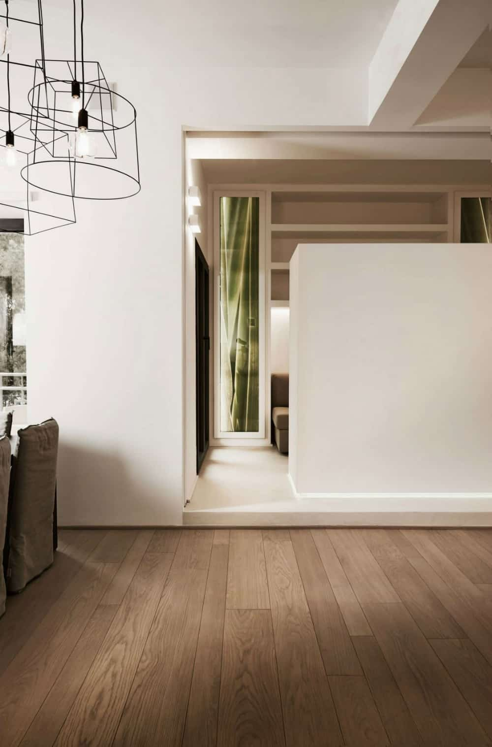 Half wall dividing areas in open layout