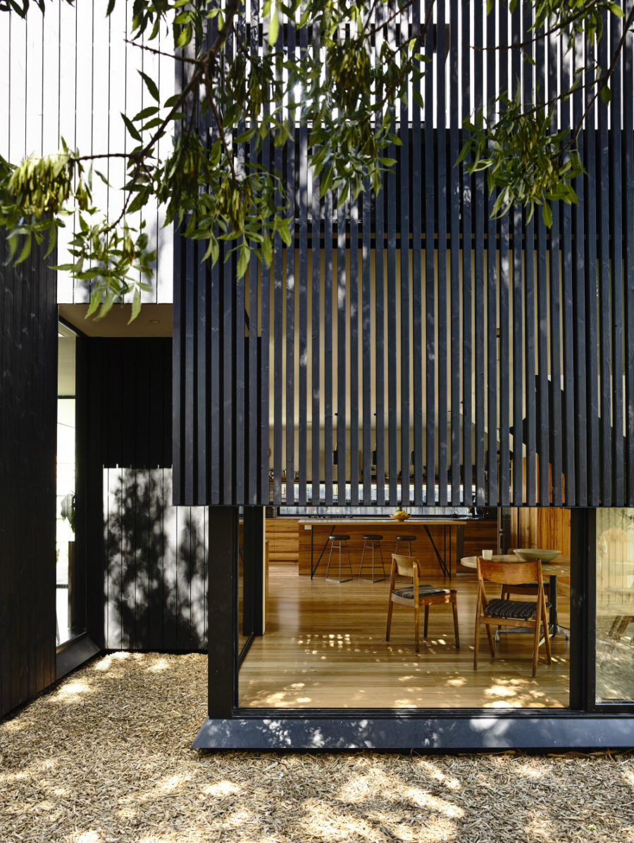 House's glass features get light and privacy from wooden screen layer