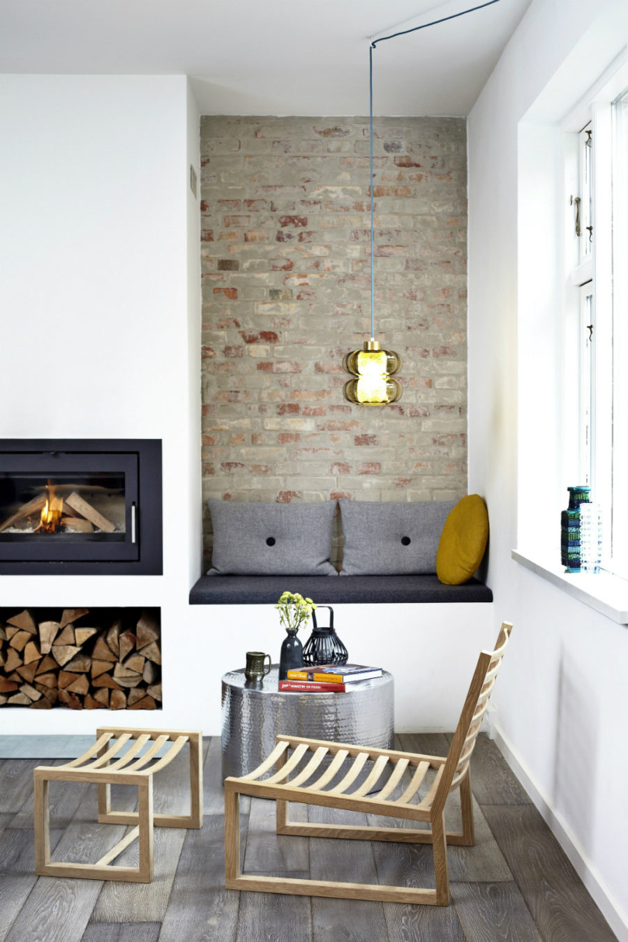 In-built window fireplace seat