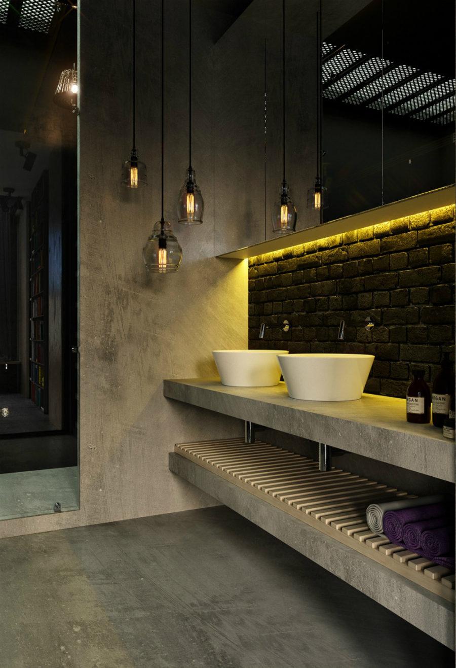 Industrial concrete bathroom