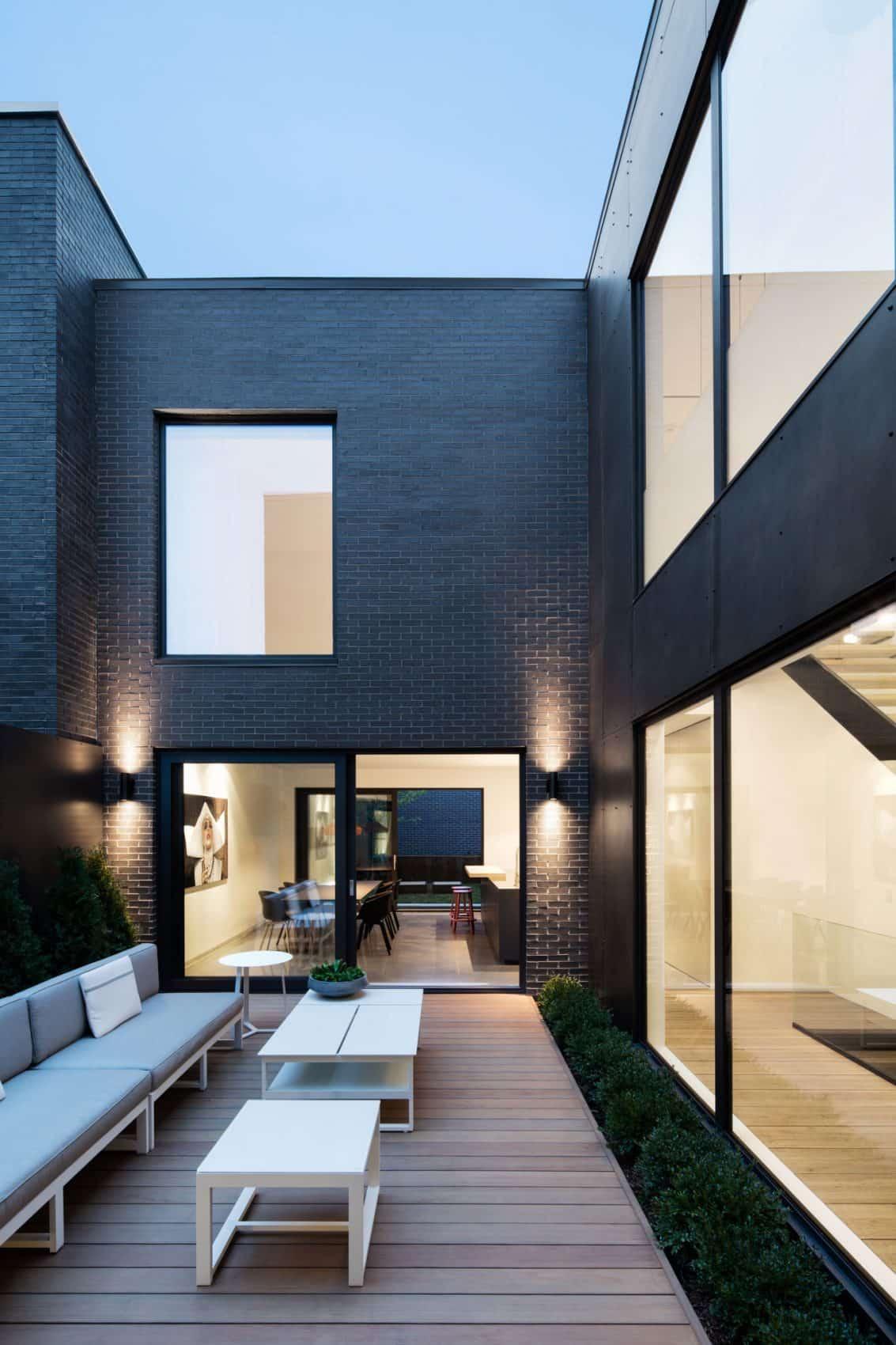 Inner courtyard has a wooden deck