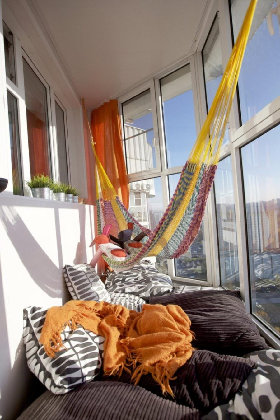 Knitted colorful hammock