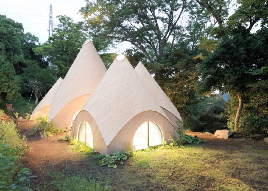 teepee shaped home complex in the mountains of japan. Black Bedroom Furniture Sets. Home Design Ideas