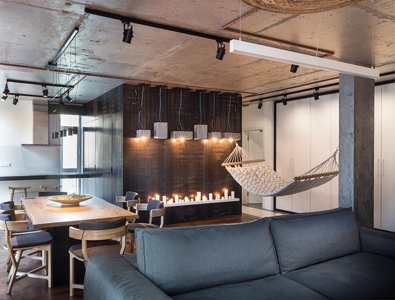 Loft-style apartment hammock