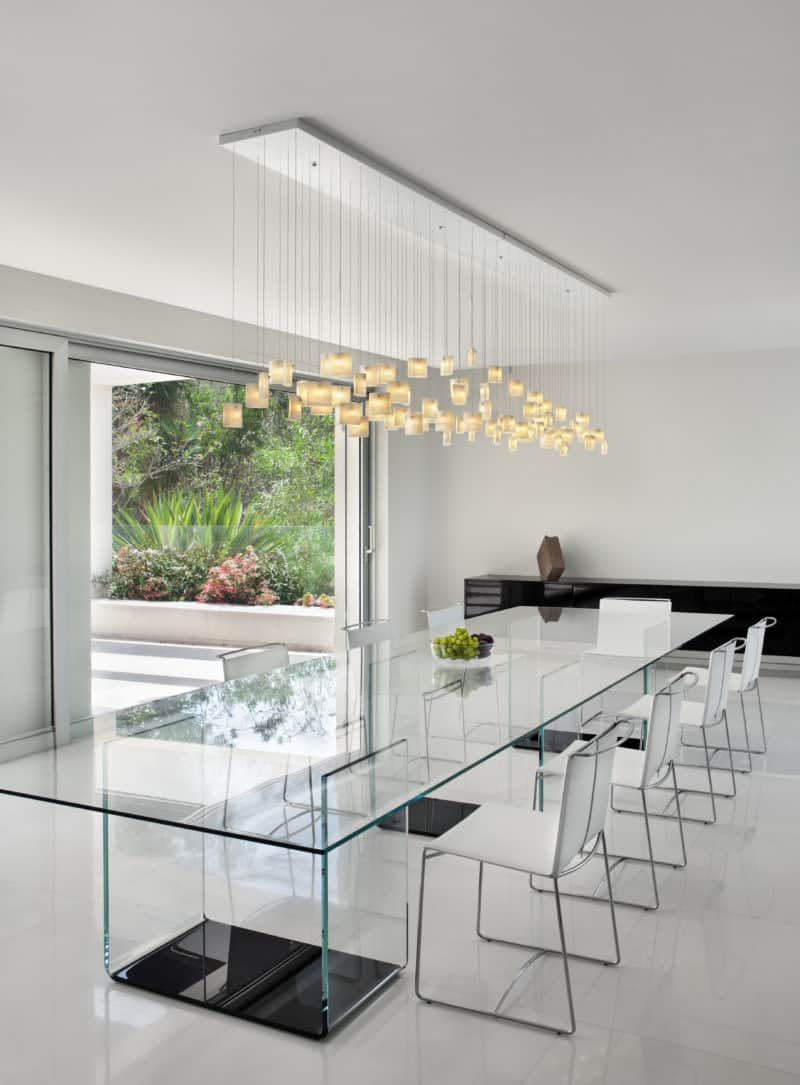 Dining room lighting ideas for a magazine worthy look bocci 28 hanging pendant lights view in gallery milk tulip pendants aloadofball Gallery