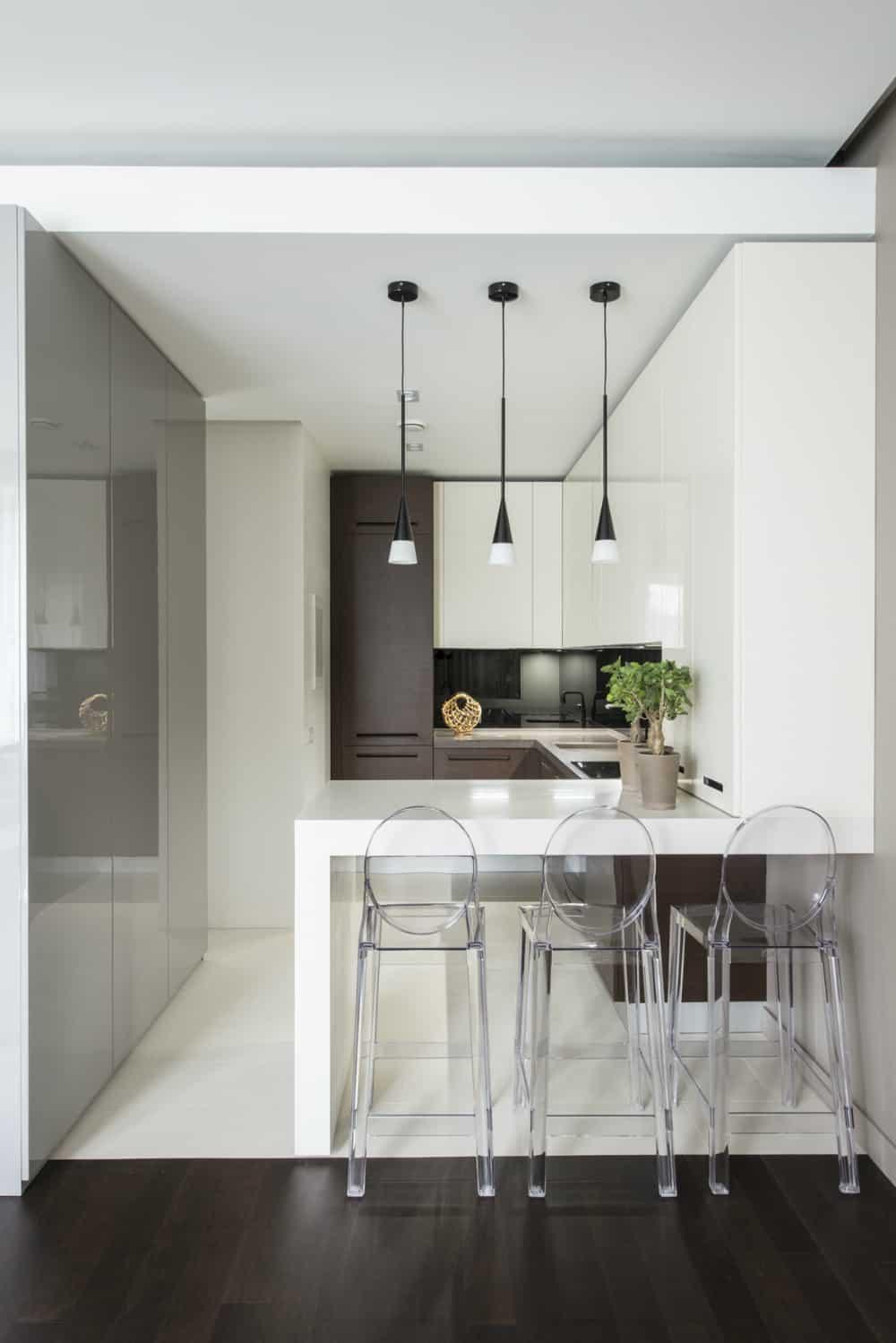 Minimalist kitchen peninsula table