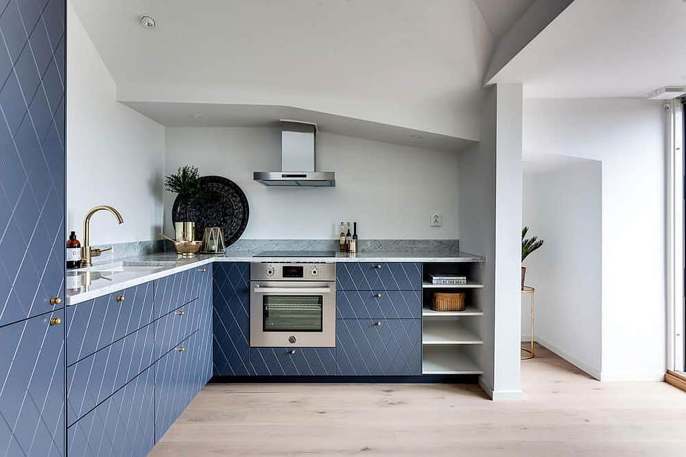 Modern kitchen design doesn't rely on the upper cabinets