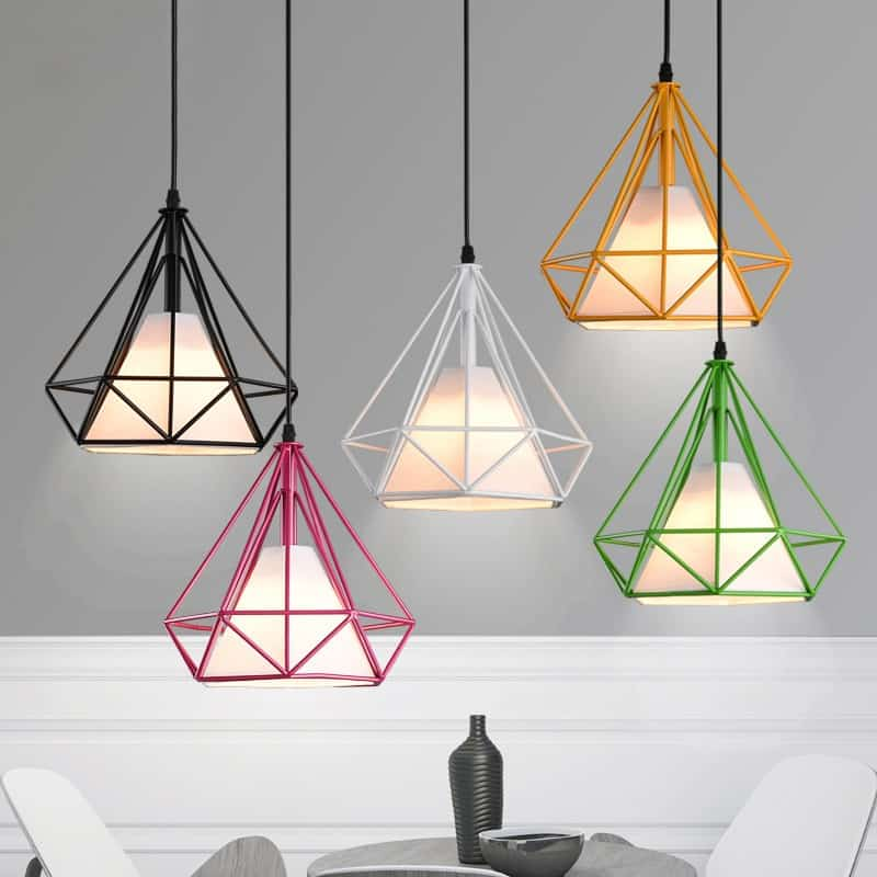 Pagoda Coloured Metal Framework Pendant Light with White Fabric Shade