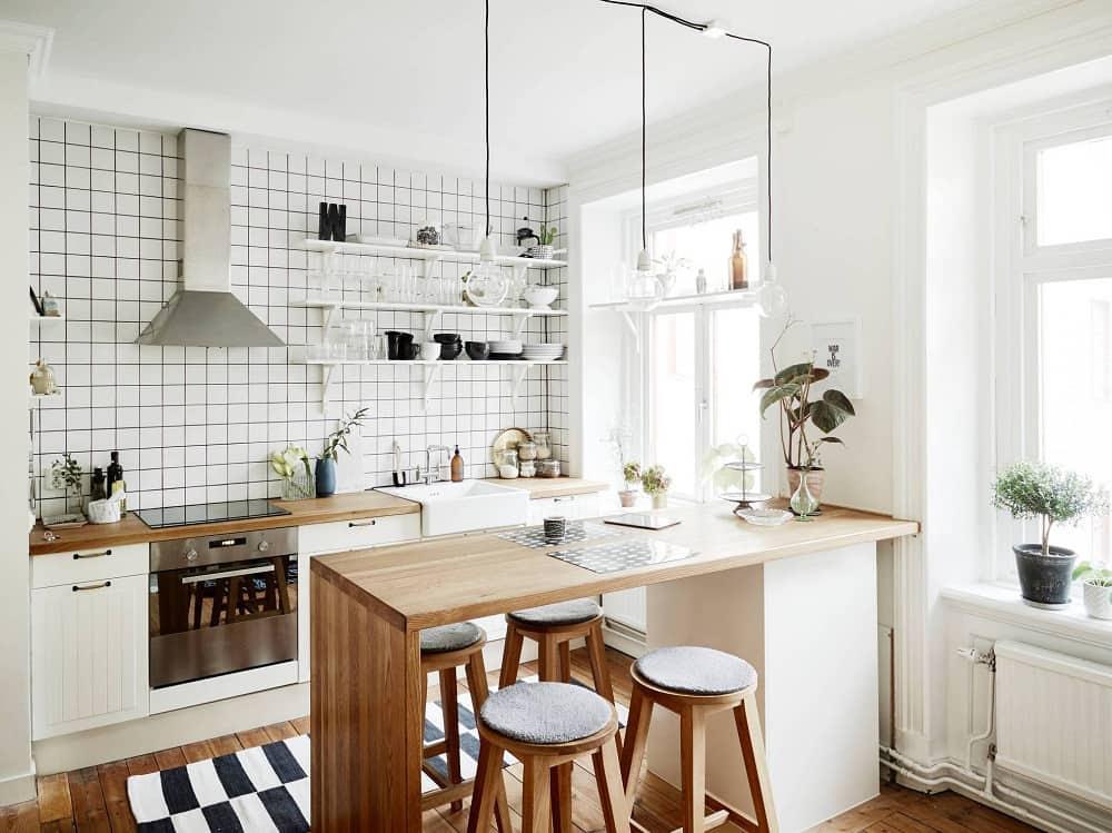 Peninsula kitchen island