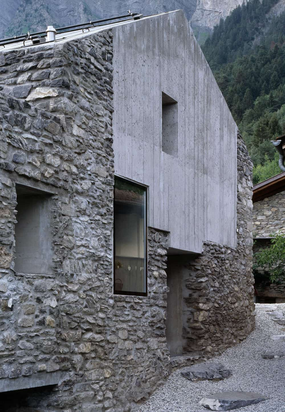 Roduit House Transformation with concrete and windows