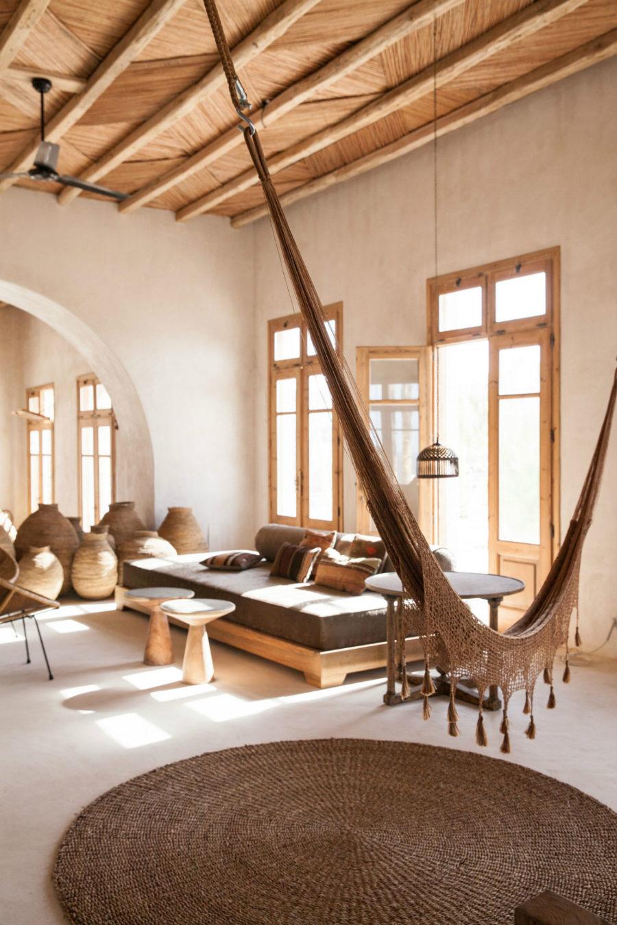 Rustic interior hammock