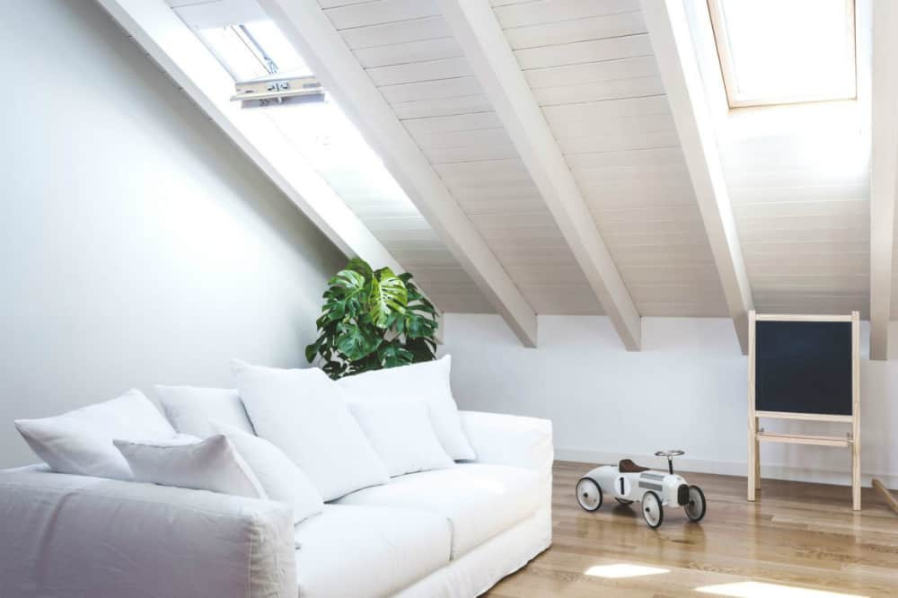 Skylights in a sloping ceiling bring plenty of daylight in