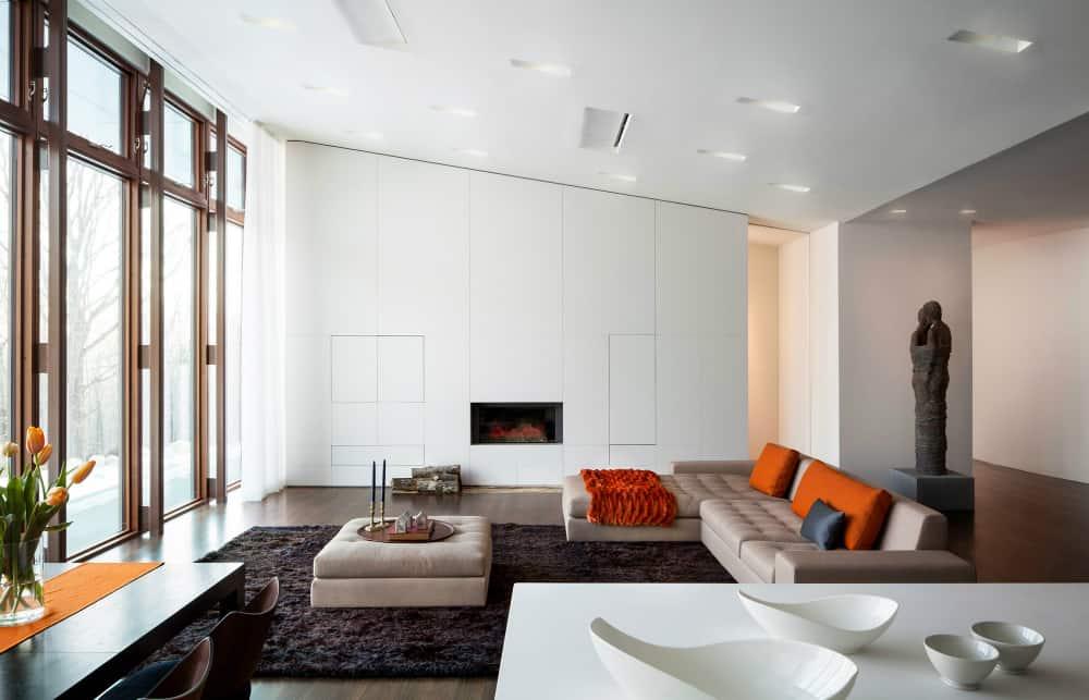 Sleek built-in living room storage