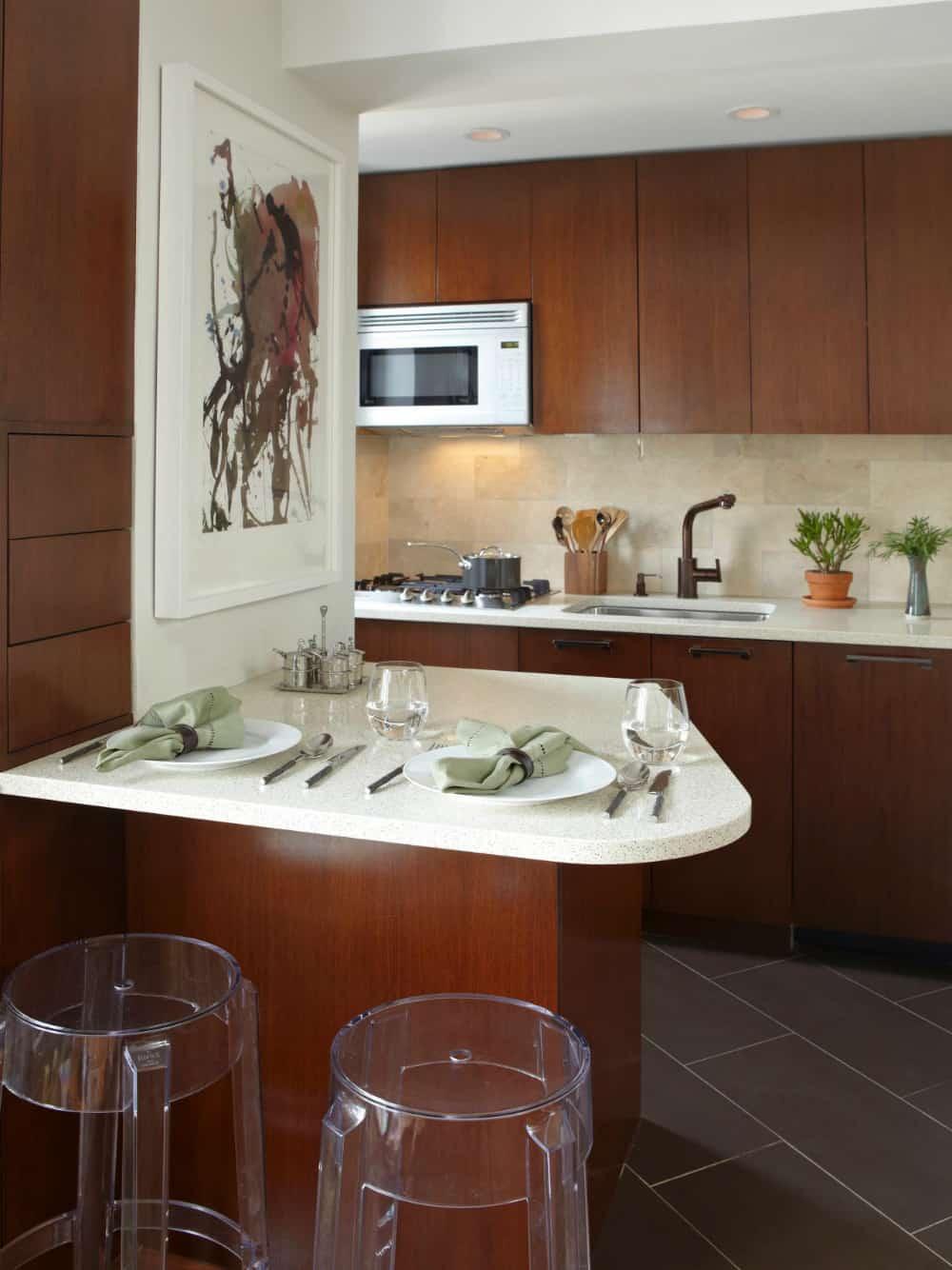 Small kitchen peninsula table