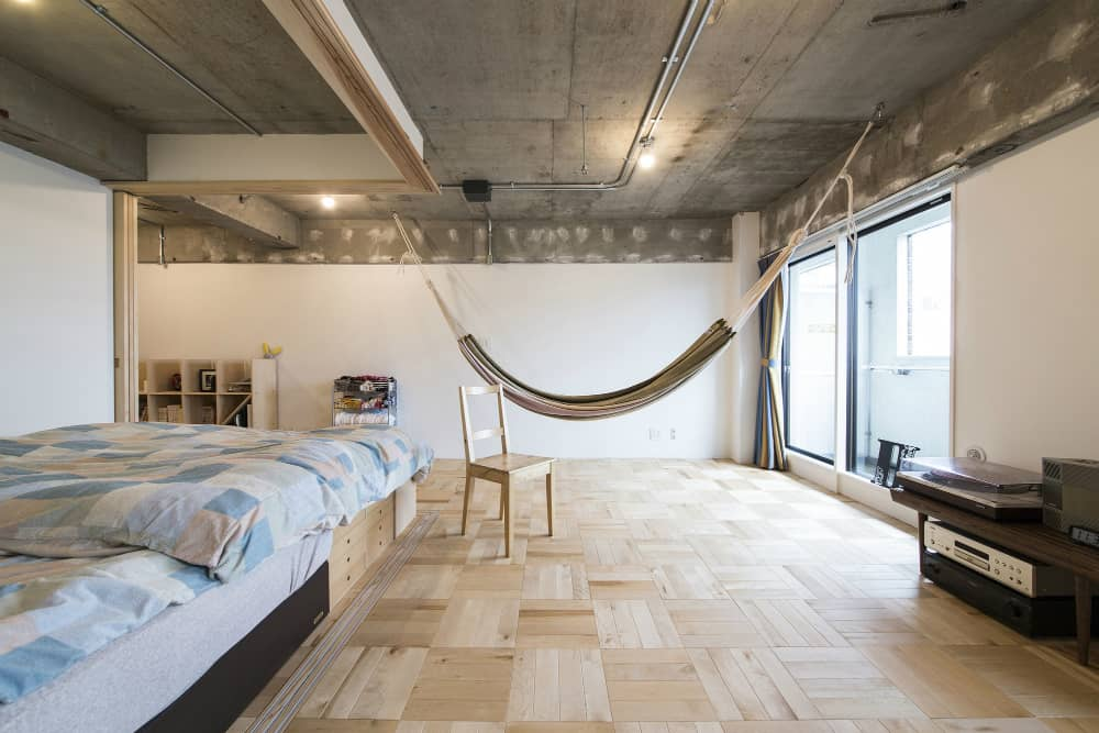 Spacious bedroom with a hammock