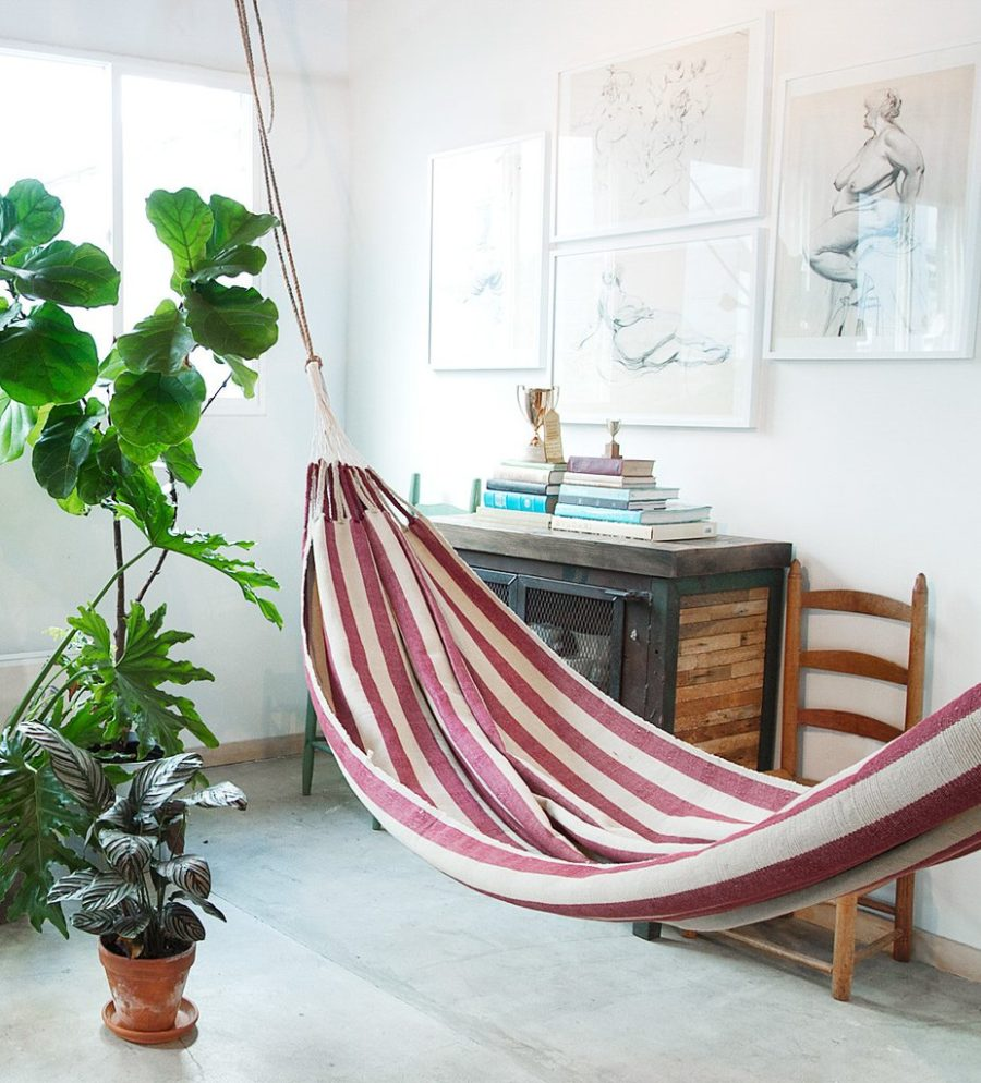 Striped hammock 900x994 Indoor Hammock Ideas for Year Round Summer Atmosphere