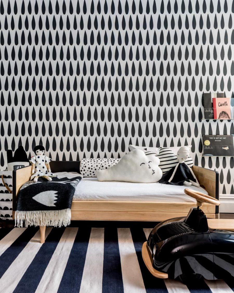 Stylish monochromatic kids room by Sissy + Marley