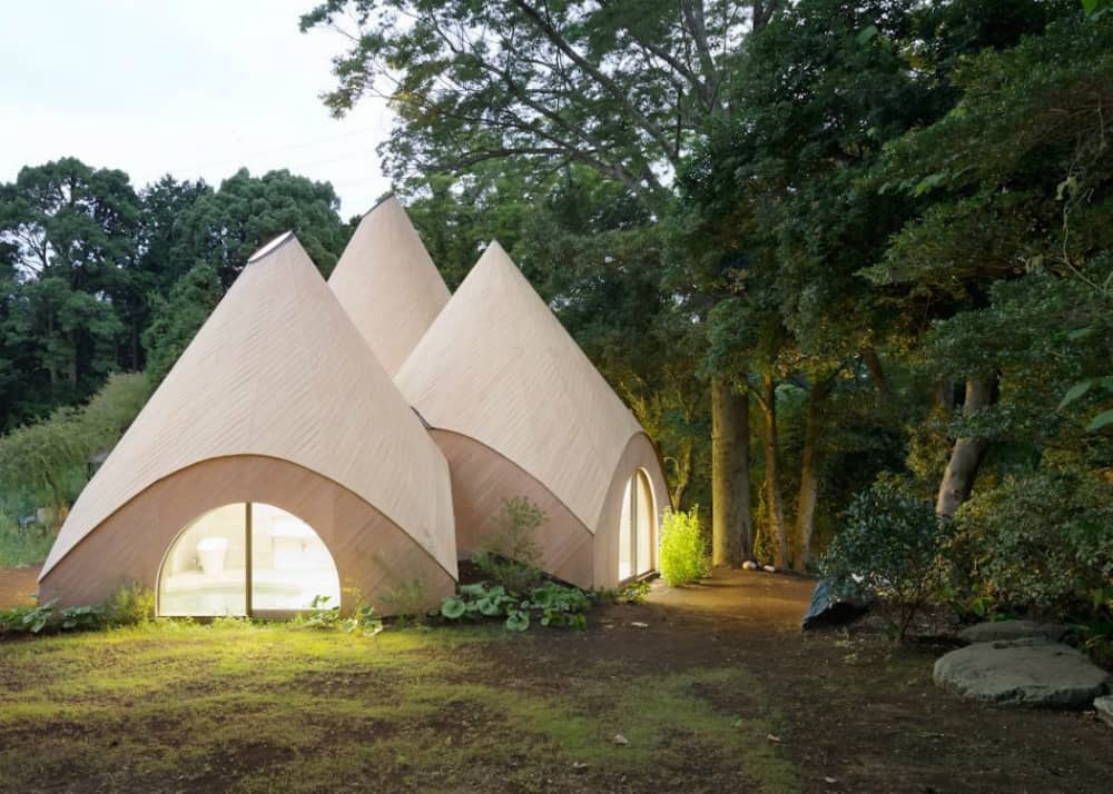 Teepees look like houses of mysterious wooden creatures
