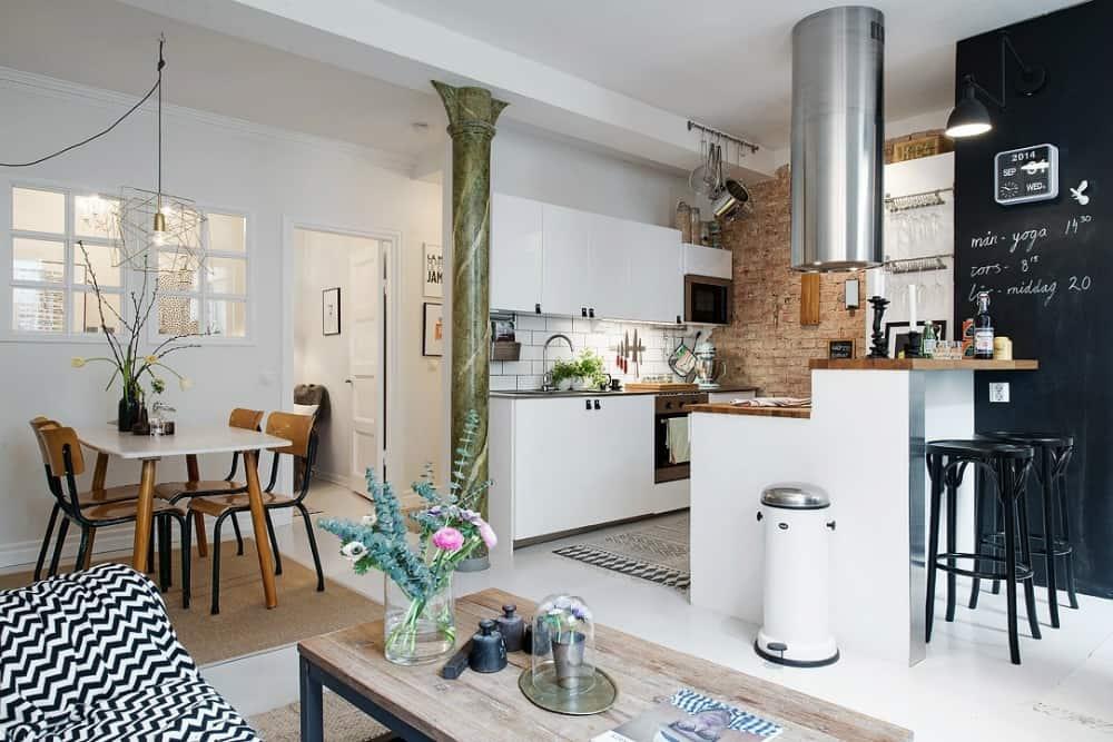 Tiny kitchen peninsula breakfast bar