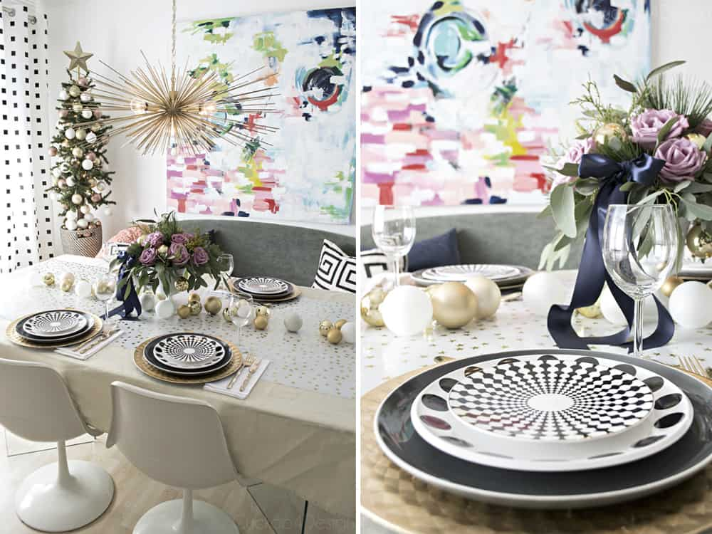 Urchin chandelier and Christmas tablescape by Cuckoo4Design