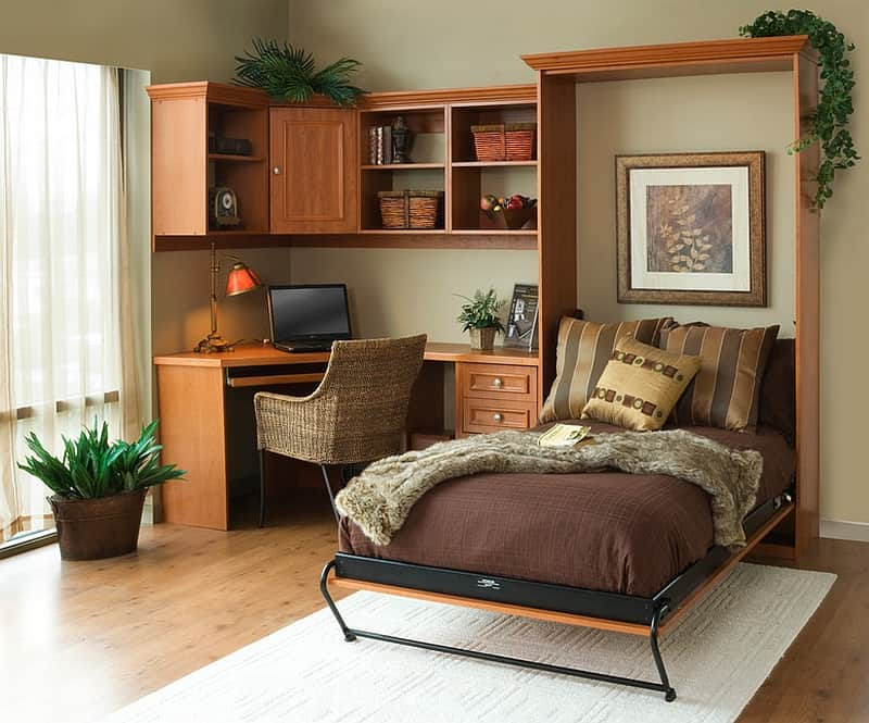 View In Gallery Cozy Brown Multi Purpose Home Office With Hideaway Bed