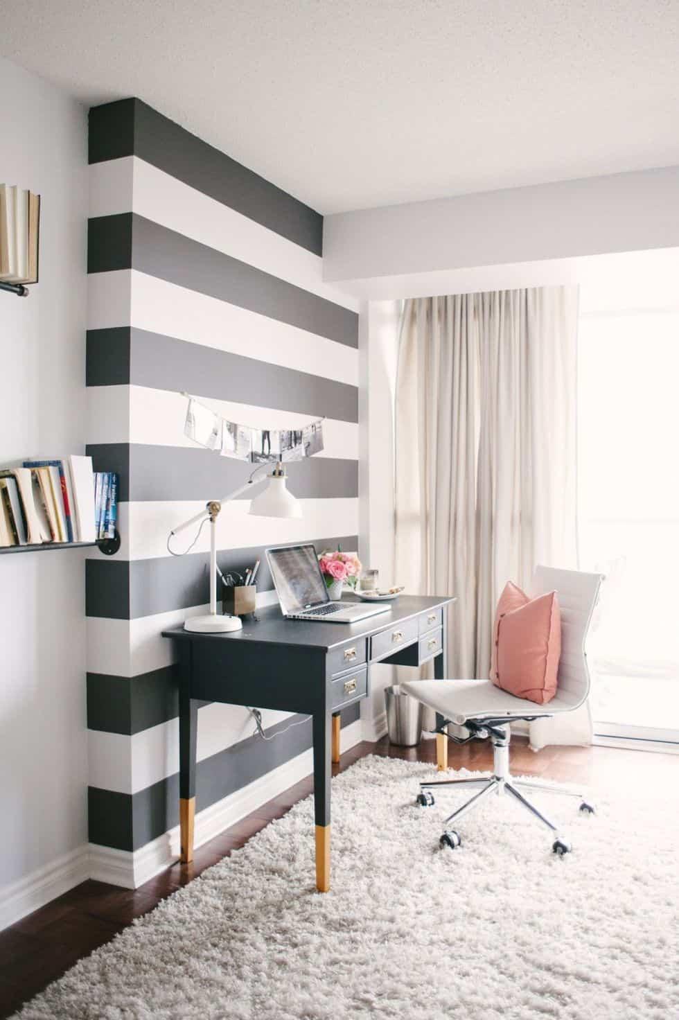 diy modern home office stripes