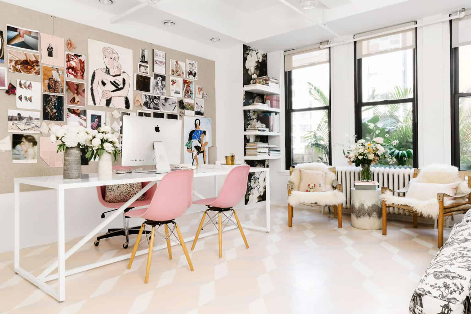 eclectic pastel home office diy