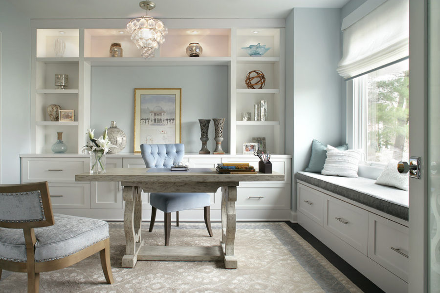 View In Gallery Light Blue Gray Simplistic Home Office