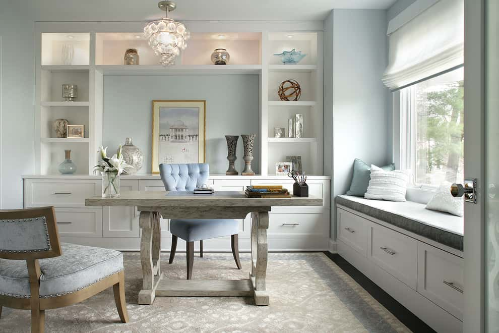 light blue gray simplistic home office