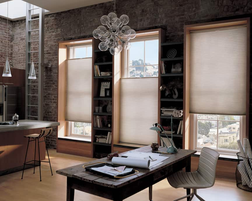 modern light fixtures and windows for tranquil home office