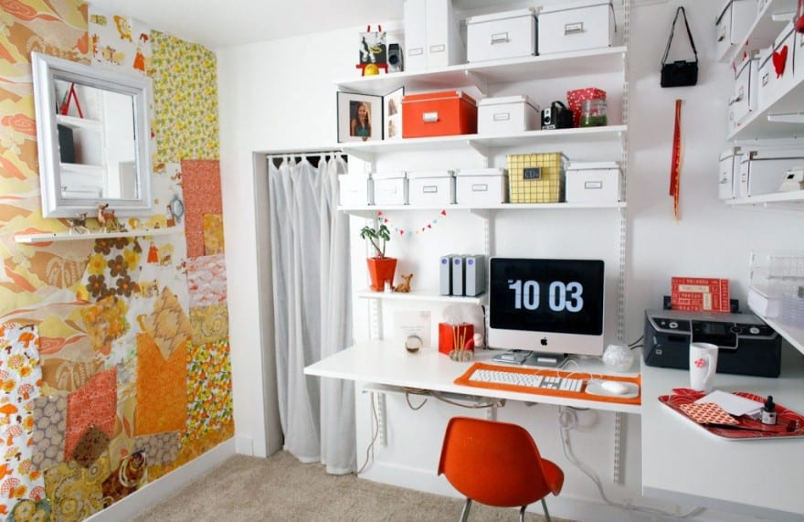 ... Modern Orange And White Home Office With Creative Wallpaper