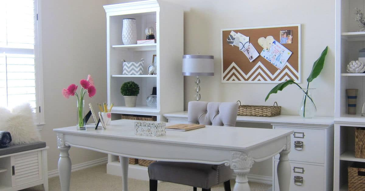 monochromatic whites grays home office