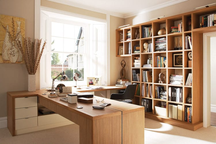 deluxe wooden home office. Perfect Deluxe View In Gallery Neutral Home Office Wood Desk 21 Ideas For Creating The  Ultimate Home Office On Deluxe Wooden