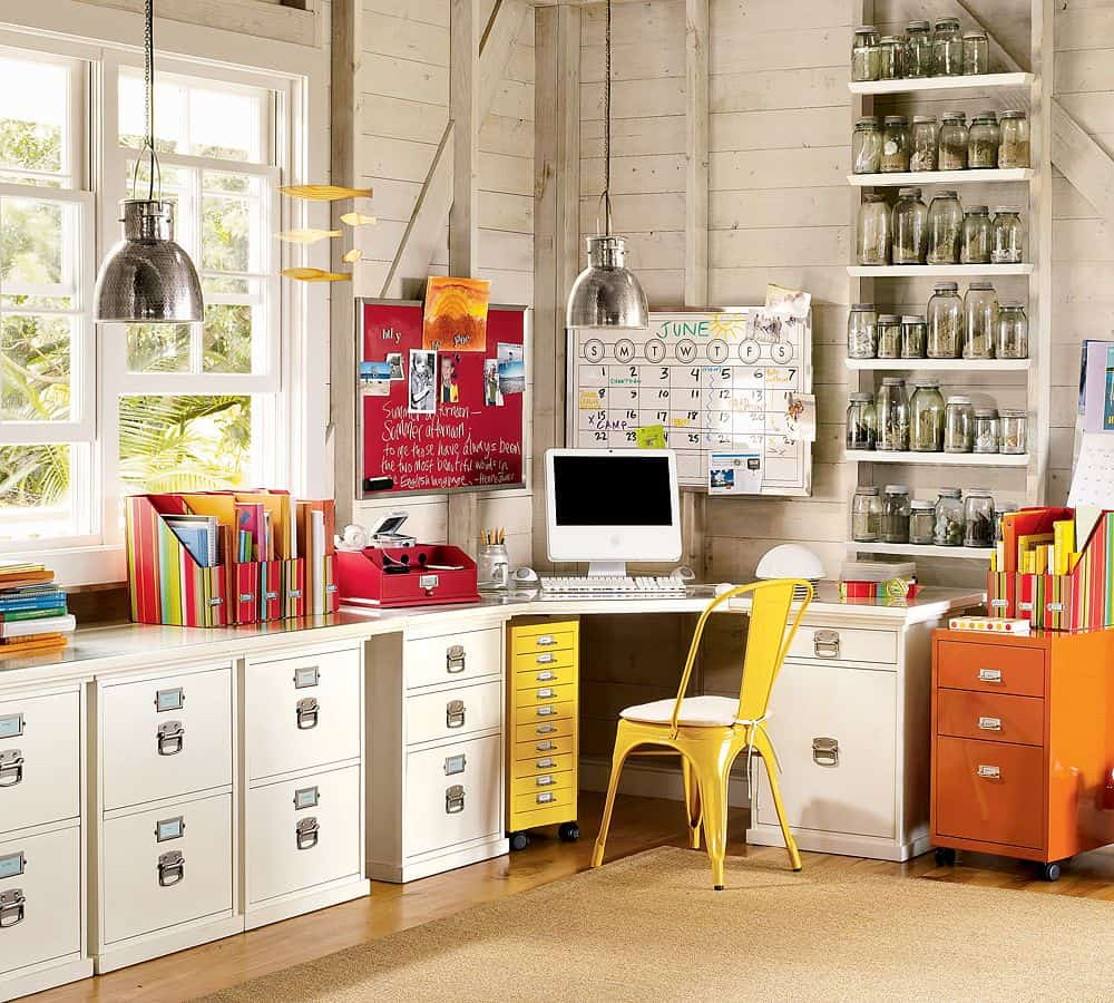 vibrant retro home office storage ideas