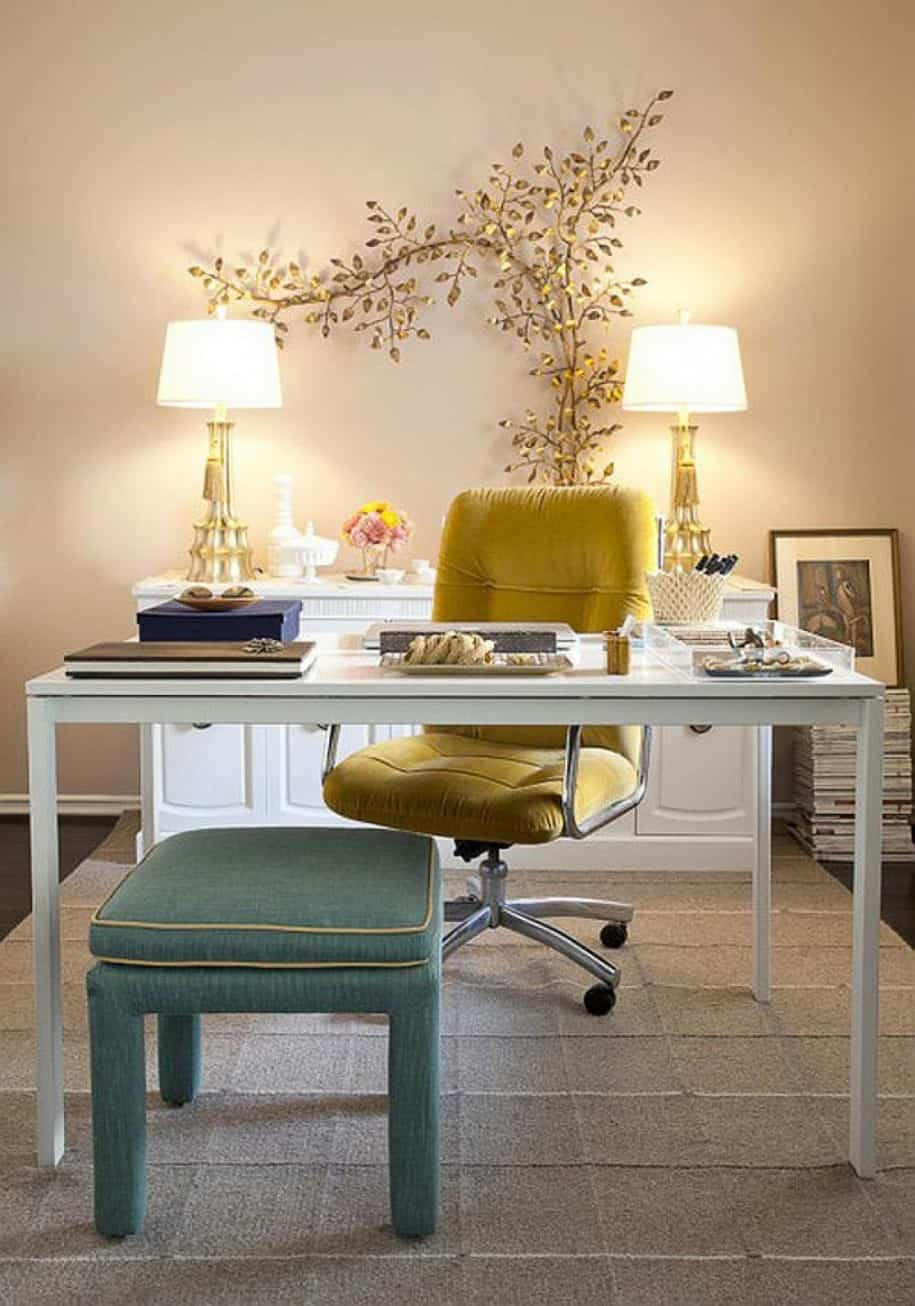vintage inspired yellow and blue cozy home office furniture