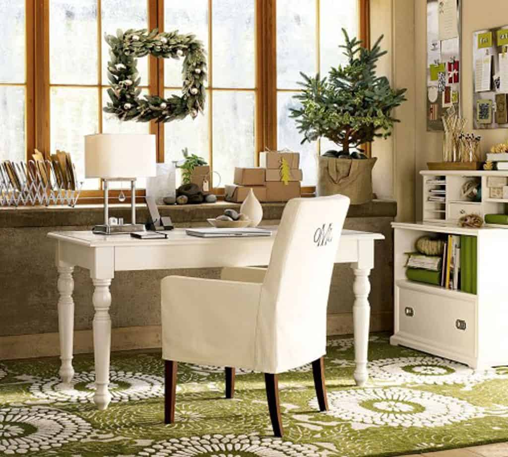 white and green decorating home office