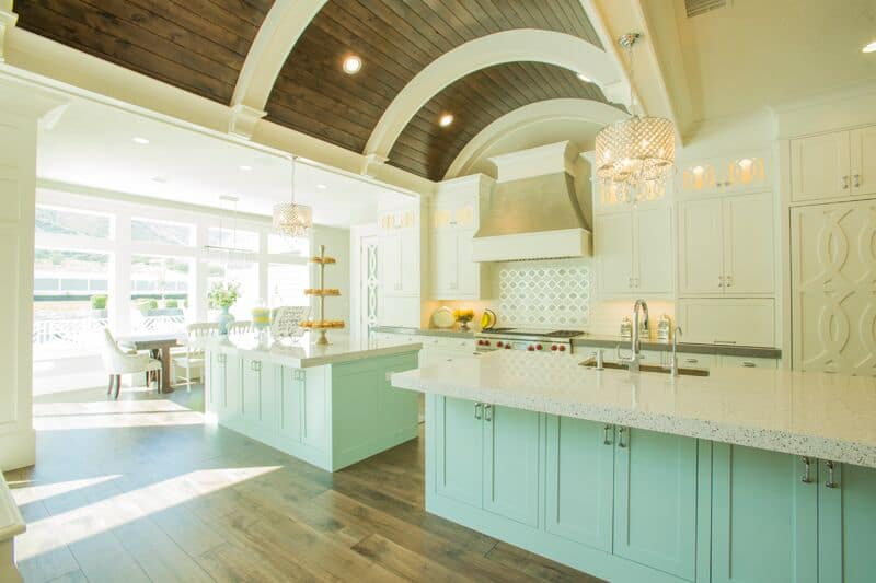 A barreled walnut stained wood ceiling is a focal point of the room This Classic Smart Kitchen is a Dream Come True