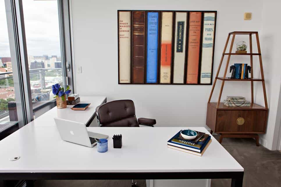 Abbe Fenimore office with modern wall art