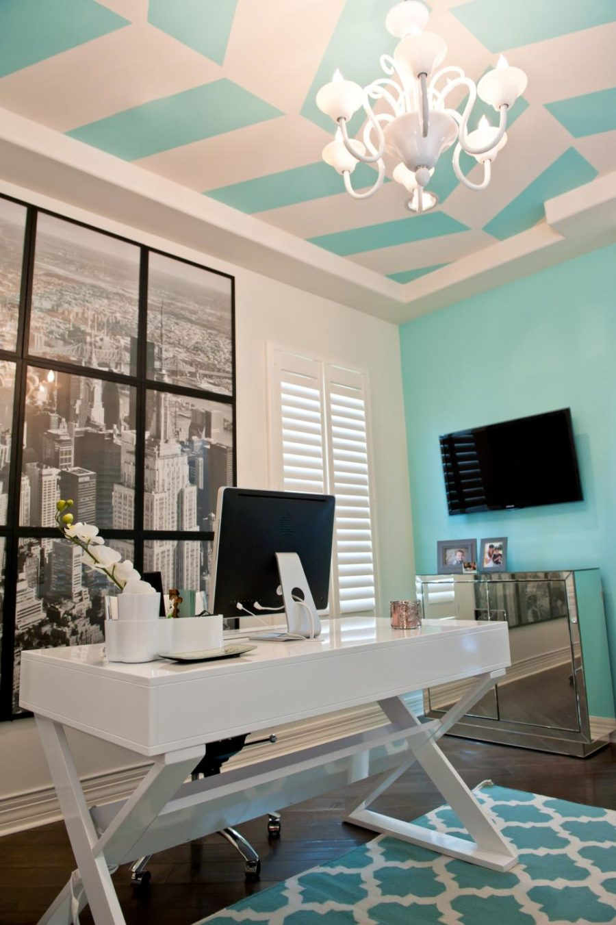 Andrea Bazilus home office with a photographic wall