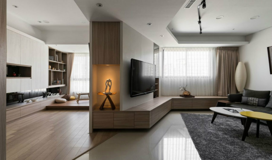 Angled interior architecture divides and opens spaces all at the same time 900x530 Private Residence in Taipei With an Unusual Layout