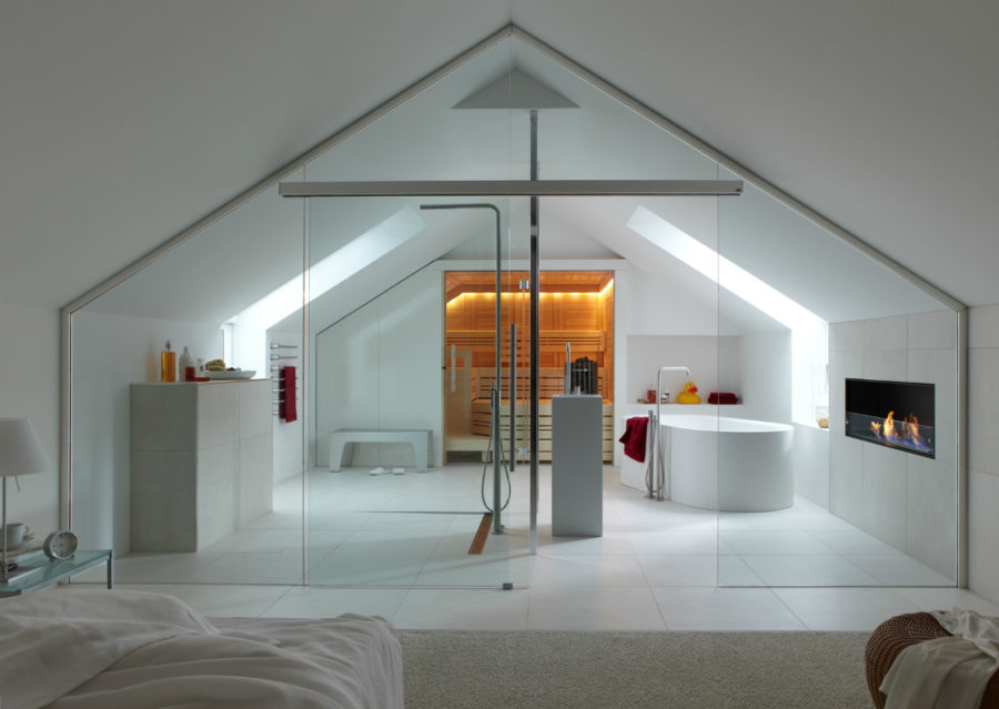 attic bedroom and bath with sauna - Bathroom In Bedroom Design