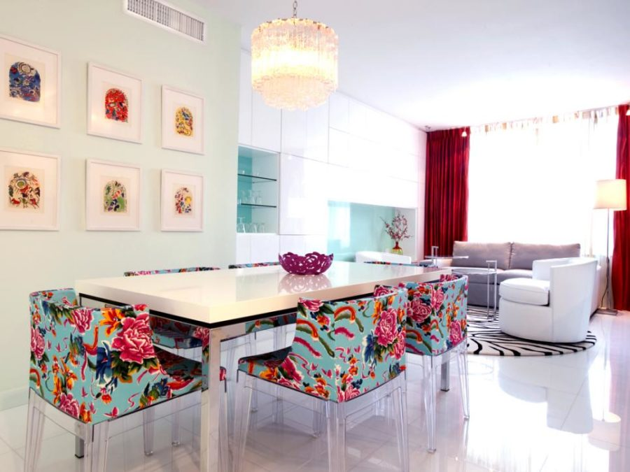 Avram Rusu's white dining room with bright floral chairs
