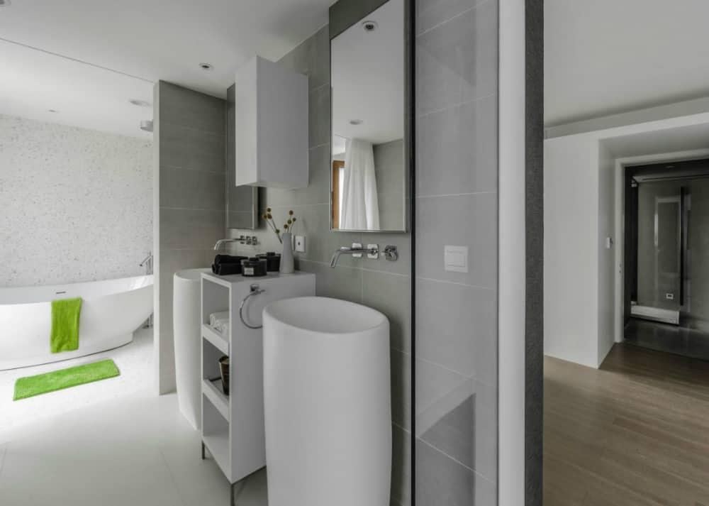 Bathroom is pleasantly contemporary