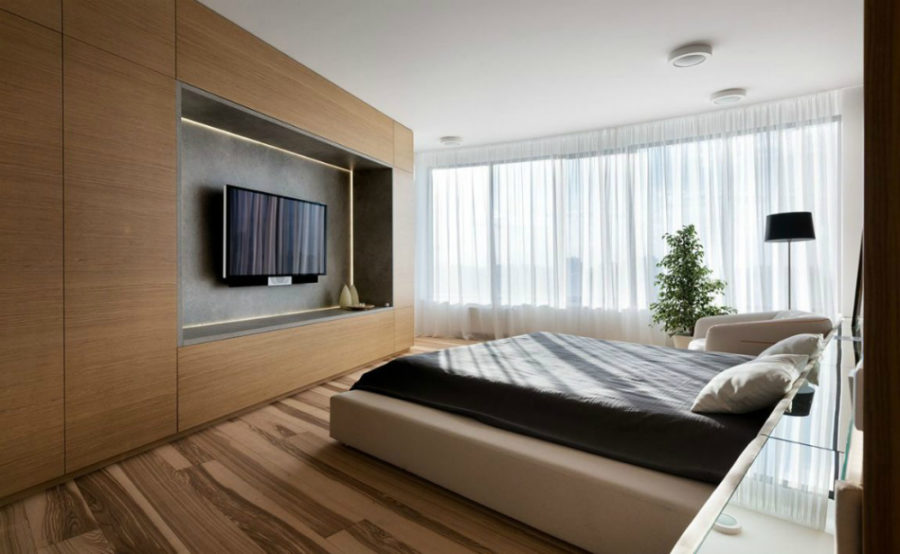 Bedroom has its own entertainment unit full of storage space